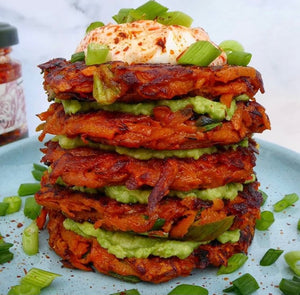 Harissa, sweet potato and spring onion fritters