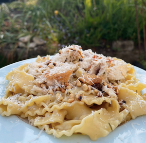 Roast chicken Tagliatelle with rosemary and pinenuts
