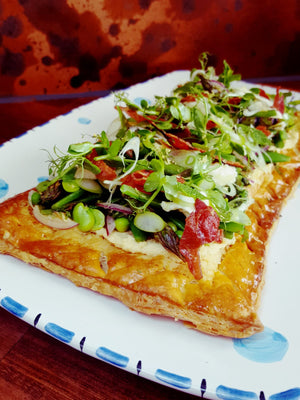 Jack O'Donovans Puff Pastry Tart with peas, broad beans, buffalo mozzarella and crispy prosciutto