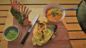 Jack O'Donovan's Herb Crusted Rack of Lamb, sweet potato mash, barbecued cabbage & salsa verde