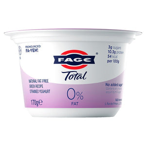 Fage Total 0% Natural Fat Free Greek Recipe Strained Yoghurt  - 170g