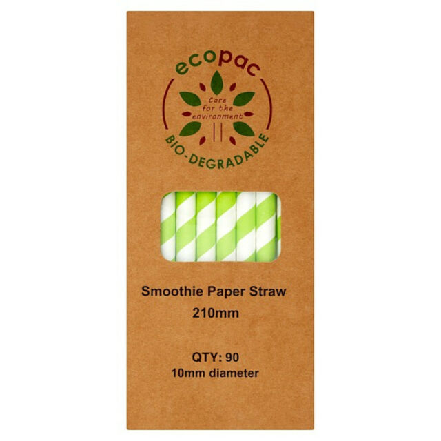 Ecopac Striped Green Paper Straws - Pack of 90