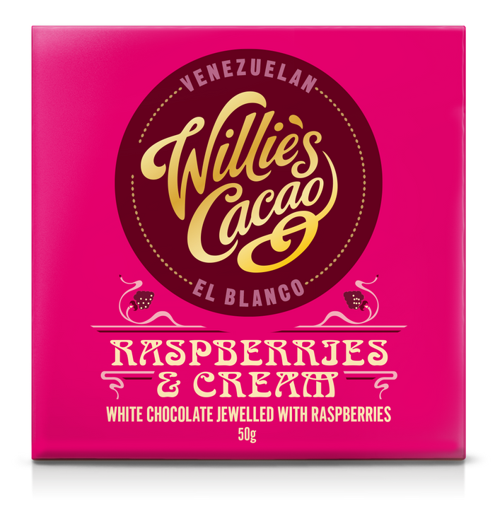 Willie's Cacao Chocolate  - Raspberries and Cream White chocolate - 50g