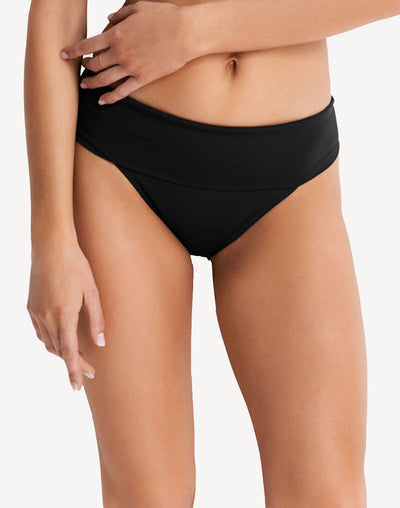 Seafolly Solid Roll Top Retro Bikini Bottom#color_black