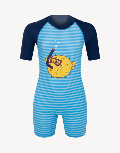 5 Oceans Toddler Boy's Pufferfish UV Suit#color_blue