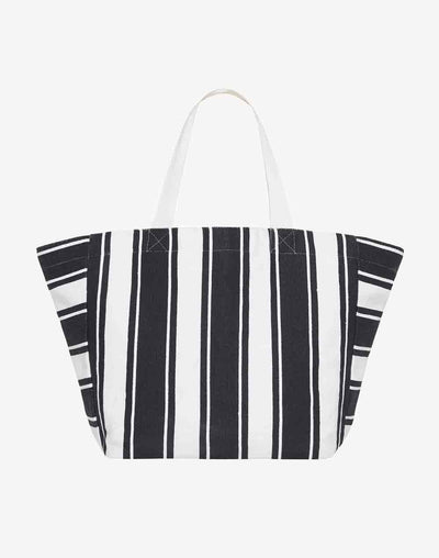 Seafolly Canvas Stripe Tote Bag#color_navy