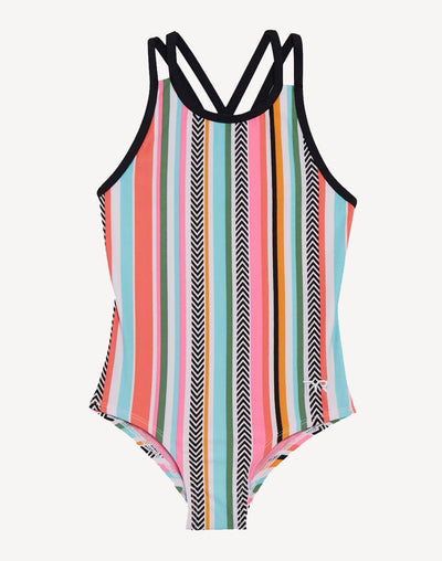 TYR Girl's Peekaboo Oliviafit One Piece#color_coral