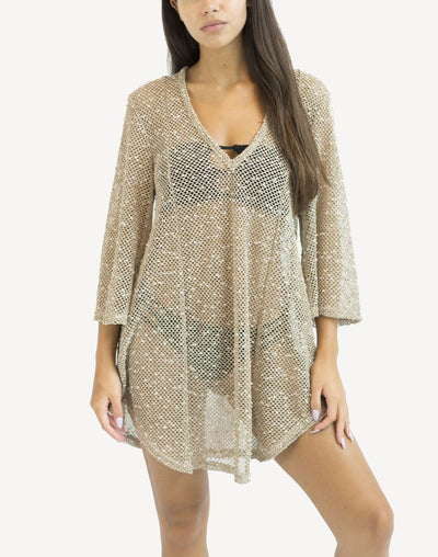 Elif Scota Long Sleeve Tunic Cover Up#color_tan