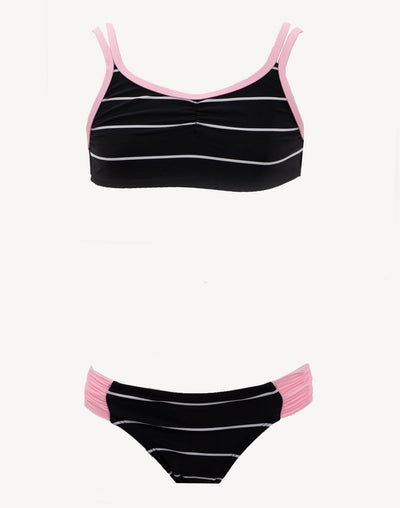 Mandarine & Co Girl's Stripe Bikini Set#color_black