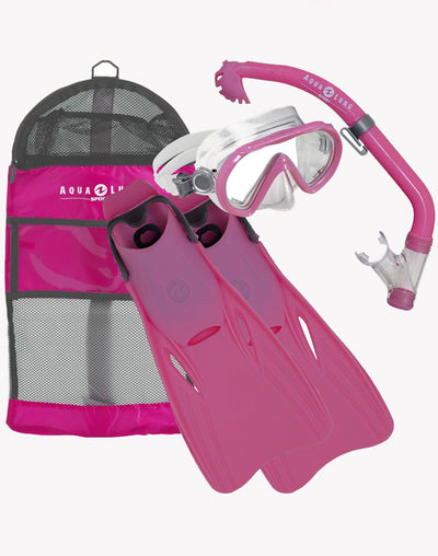 Aqua Lung Zipper Junior Snorkel Set 9-13 Foot Size#color_pink
