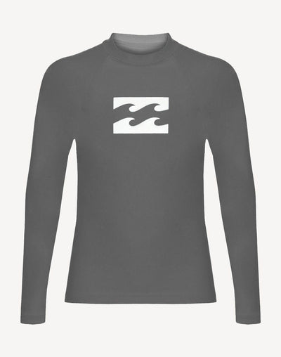 Billabong Boy's Wave All Day Performance Fit Long Sleeve Rashguard#color_grey