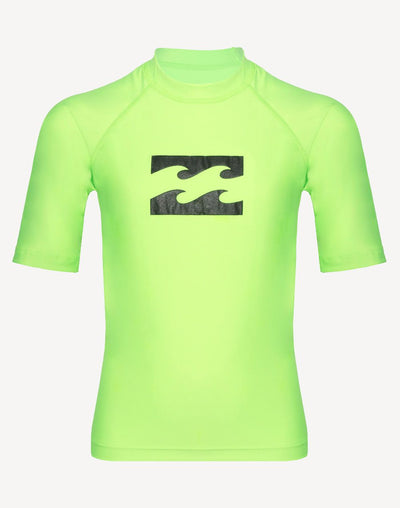 Billabong Boys Wave All Day Performance Fit Short Sleeve Rashguard#color_green