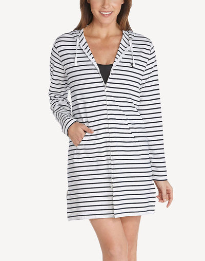 Coolibar Women's UPF 50 Zip Striped Long Sleeve Hooded Cover Up#color_navy