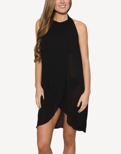 Cover Me Key Halter Draped Cover Up#color_black