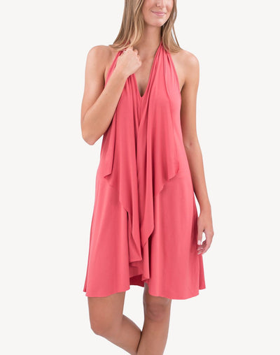 Cover Me Linea Draped Front Cover Up#color_coral