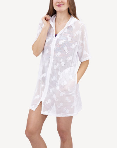 Cover Me Pineapple Crush Full Figure Short Sleeve Hooded Cover Up#color_white