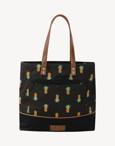 Everyday Sunday Cara Pineapple Beach Bag#color_black