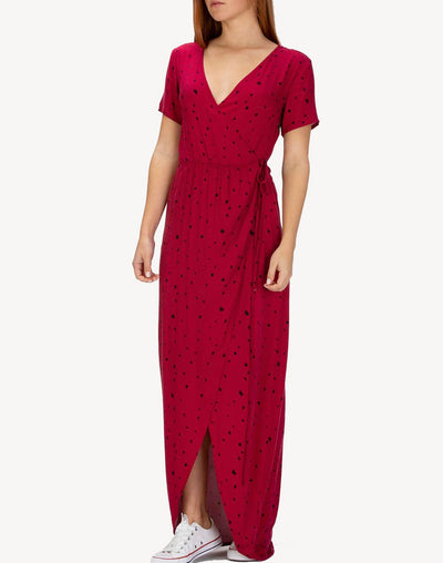 Dot Party Wrap Maxi Dress#color_red