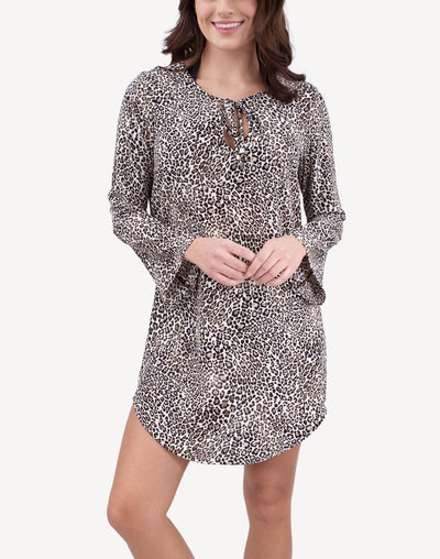 Inara Leopard Long Sleeve Tunic Cover Up#color_black