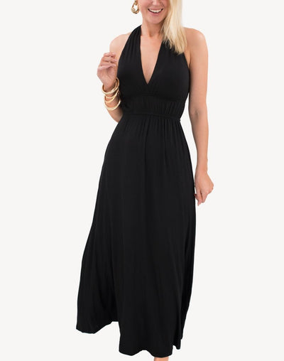 Smocked Pocketed Grecian Maxi Dress#color_black