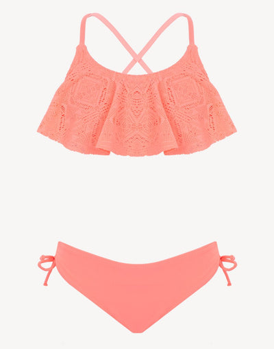 Mandarine & Co Girl's Sunset Dream Flounce Crochet Bikini Set#color_coral