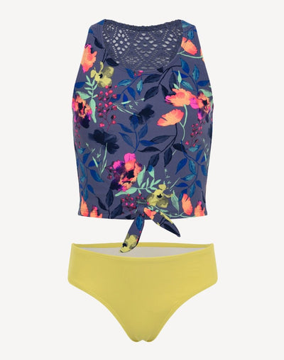 Mid Girl's Floral Tankini Set#color_yellow