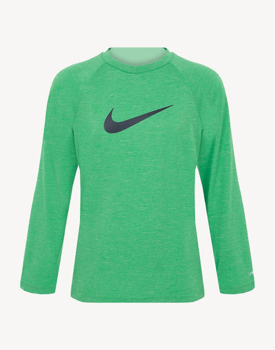 Nike Boy's Heather Long Sleeve Hydroguard Rashguard#color_green