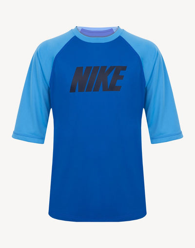 Nike Boy's Camo Short Sleeve Hydroguard Rashguard#color_blue