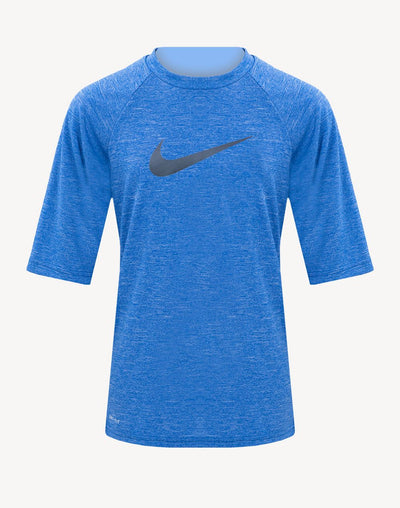 Nike Boy's Heather Short Sleeve Hydroguard Rashguard#color_blue