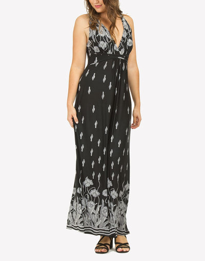 Monotone Grecian Maxi Dress#color_black