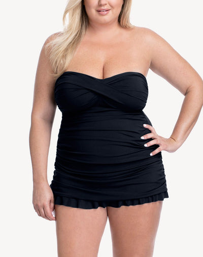 Profile Tutti Full Figure Bandeau Swimdress#color_black