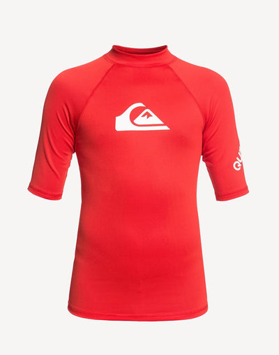 Quiksilver Boy's All Time Short Sleeve Rashguard#color_red