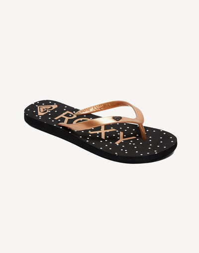 Roxy Women's Tahiti VI Gold Dot Sandal#color_black