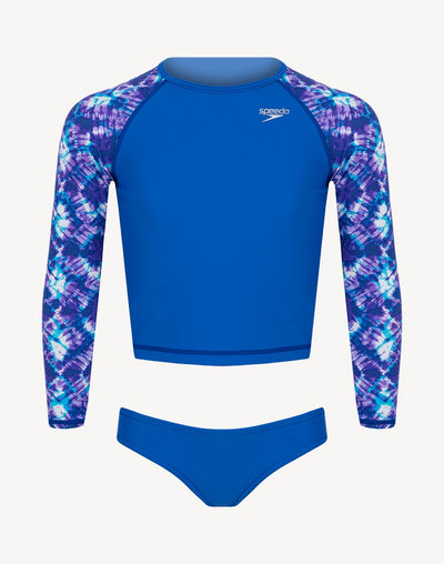 Speedo Girl's Printed Long Sleeve UV 2 Piece Set#color_blue