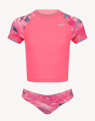 Speedo Girl's Printed UV 2 Piece Set#color_coral