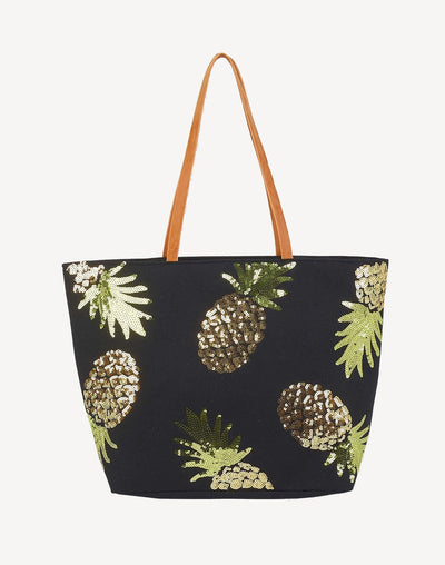 Sun'N'Sand Baja Surf Jute Shoulder Tote Bag#color_black