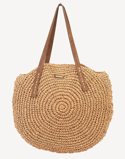 Sun'N'Sand Women's Round Shoulder Tote Beach Bag#color_neutral