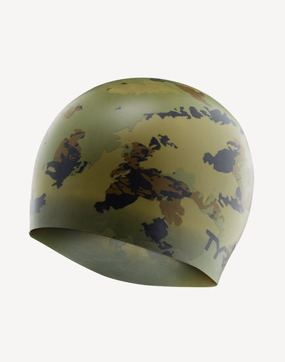 TYR Camo Swim Cap#color_green