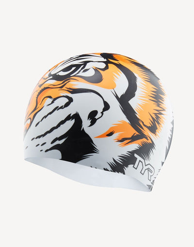 TYR Tiger Swim Cap#color_white