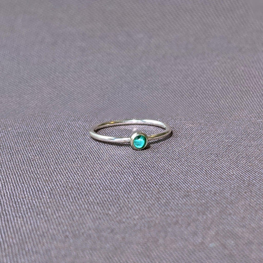 Aqua Glass Cabochon Stacking Ring, Size 9