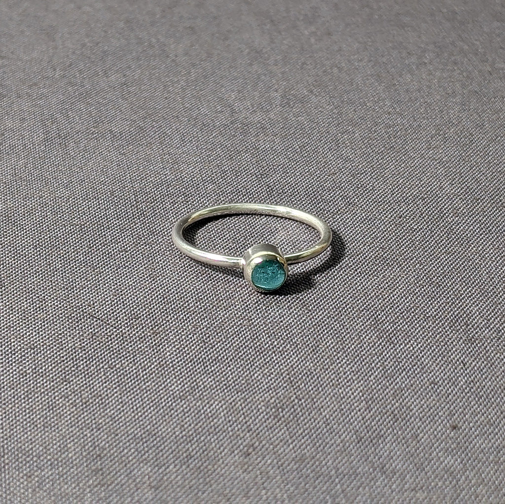 Aqua Glass Cabochon Stacking Ring, Size 8