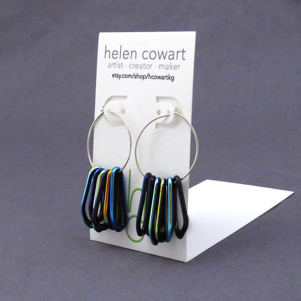 Black Rainbow Dichroic Glass Loop Earrings