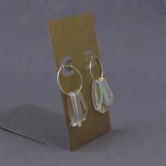 Clear Rainbow Dichroic Glass Loop Earrings