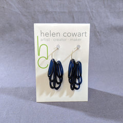 Midnight Blue Glass Loop Earrings