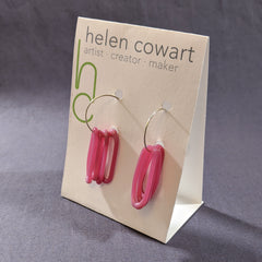 Pink Glass Loop Earrings, opaque