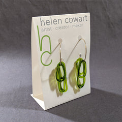 Spring Green Glass Loop Earrings
