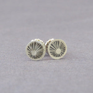 Silver Sunburst Dot Earrings