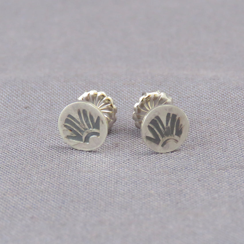 Silver Fronds Dot Earrings