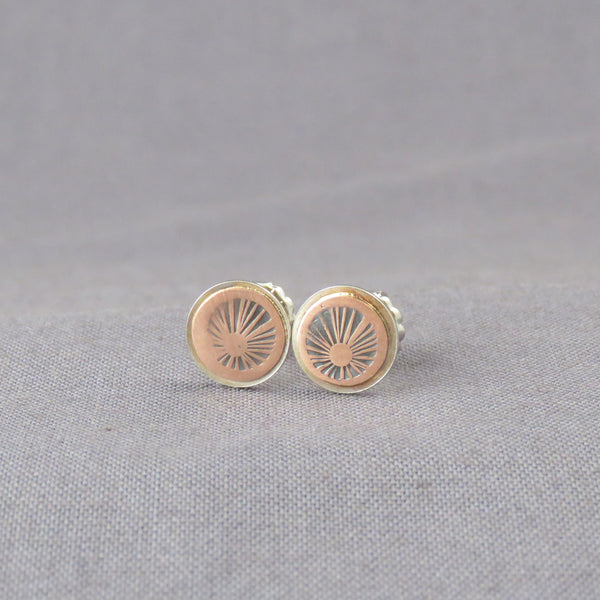 Copper Sunburst Dot Earrings
