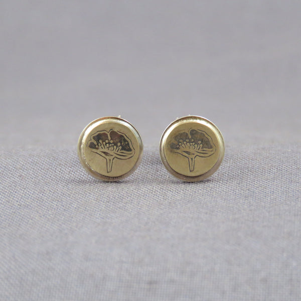 Brass Poppies Dot Earrings
